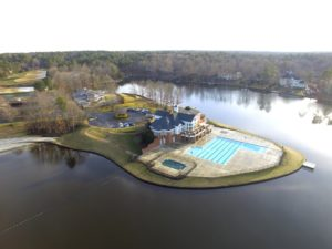 Aerial view of Fawn Lake and the Community Center - aerial drone photography